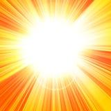 Hot summer sun. On an orange background Stock Image