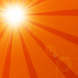 Hot summer sun. With rays Royalty Free Stock Image