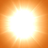 Hot summer sun. On an orange background Royalty Free Stock Photography