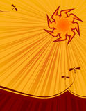 Hot summer sun. Illustration of the summer sun in a beautiful sky with plenty of copy space Stock Images