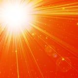 Hot summer sun. On an orange background Stock Photo
