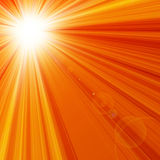Hot summer sun. On an orange background Stock Images
