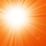 Hot summer sun. In an orange sky Stock Photo