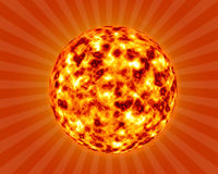Hot summer sun background in 3d Stock Photos