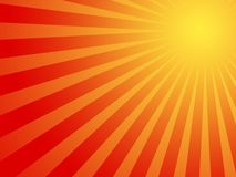 Hot Summer sun background. Abstract red sunny stripes with hypnotic faith feel Stock Image