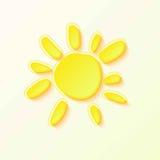 Hot Summer Sun with yellow rays on white sky. Cartoon Illustration of Hot Summer Sun Royalty Free Stock Photo