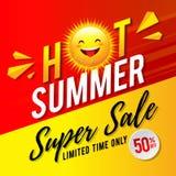 Hot Summer Super Sale Flyer Design royalty free illustration