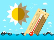 Hot Summer Temperature. Thermometer in Sea. Waves. Vector Flat Design Cartoon Royalty Free Stock Images
