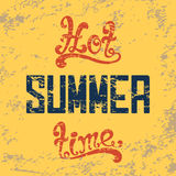 Hot summer time. Calligraphic handwritten vintage Stock Image
