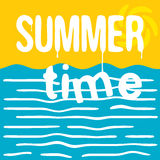 The hot summer time. Retro greeting card. Flat style illustration. Stock Image