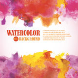 Hot Summer Watercolor Background with place for text. Warm color. S  red, orange, yellow, purple Royalty Free Stock Images