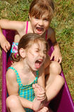 Hot summer weather- water fun in bathtub Royalty Free Stock Images