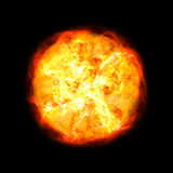 Hot sun. Ball of fire isolated on black background Royalty Free Stock Image