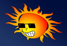 Hot Sun. Scorching sun grinning down with dark sunglasses stock illustration