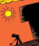 Hot Sun and Gardener Digging Stock Image