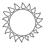 Hot sun icon, outline style Stock Image