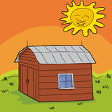 Hot Sun Over Shed Royalty Free Stock Photos