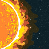 Hot sun view in section with heat and radiation. Digital vector image Royalty Free Stock Image