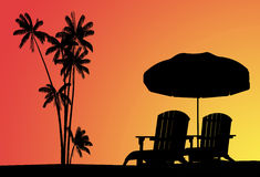 Hot sunset. Hot summer sunset whith silhouette of beach Royalty Free Stock Image