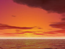 Hot Sunset. Quite red sunset Stock Photos