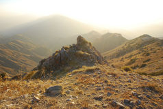 Hot sunset in the mountains of Tien Shan. stock image