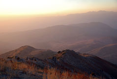Hot sunset in the mountains of Tien Shan. Stock Photography