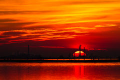 Hot sunset. Venetian lagoon, Italy royalty free stock image