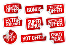 Hot super offer stickers set. Stock Image