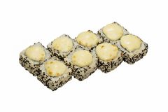 Free Hot Sushi Rolls With Black And White Sesame, Baked With Sauce. Royalty Free Stock Photos - 115998888