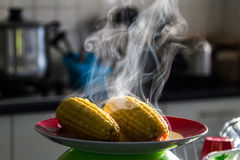 Hot sweet corn with steam Royalty Free Stock Image