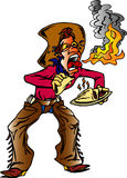 Hot Tacos. Cowboy eating hot tacos and fire coming out of mouth royalty free illustration