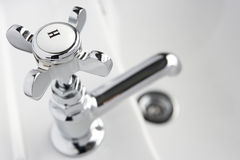 Hot Tap On Hand Basin Stock Photo