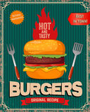 Hot and tasty burgers. Burger illustration in retro style  Stock Photo