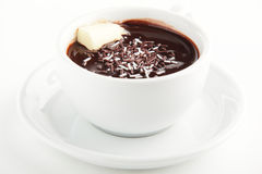 Hot and tasty cup of coffee. Fresh hot and tasty cup of coffee on white background Stock Image