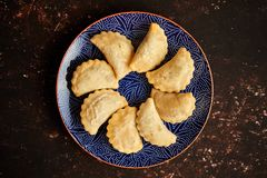 Hot and tasty deep fried polish dumplings with meat filling. Placed on a blue ceramic plate. Top view on rusty brown background with copy space stock images