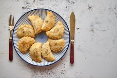 Hot and tasty deep fried polish dumplings with meat filling. Sprinkled with fresh pepper. Placed on a blue ceramic plate. Top view on rusty white background royalty free stock photos