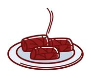 Hot tasty dolma on plate isolated cartoon illustration Stock Photos