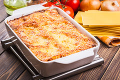 Hot tasty lasagna Stock Photos