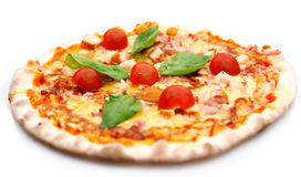 Hot and tasty pizza. Isolated on white background Stock Photo