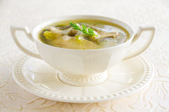 Hot and tasty soup of fish, sturgeon Stock Photo