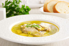 Hot and tasty soup of fish, sturgeon Royalty Free Stock Photos