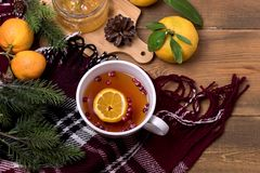 Hot Tasty Tea with Berry and Citrus Wooden Background Seasonal Relax Food Concept Citrus Jam Ripe Citrus Fruits Warm Woolen Blanke. T royalty free stock photo