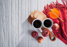 Hot tea with apples, biscuits and honey on white background Royalty Free Stock Photo