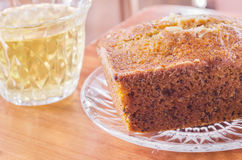 Hot tea and bakery. Hot tea in the cup and bakery Royalty Free Stock Photography