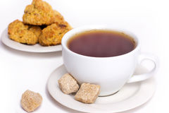 Hot tea with biscuits Royalty Free Stock Photos