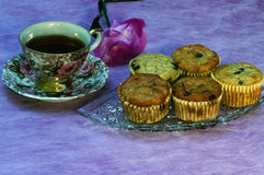Hot Tea and Breakfast Muffins Royalty Free Stock Image