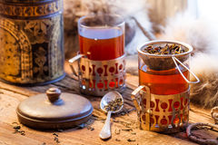 Hot tea brewed in the old style Royalty Free Stock Photo