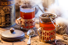 Hot tea brewed in the old style Stock Images