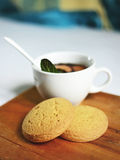 Hot tea with cakes. Royalty Free Stock Image