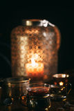 Hot tea with candle Royalty Free Stock Photography